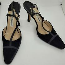 Manolo Blahnik 7 Us 37 Eu Black Velvet Strapped Back Heels Women's Shoes Photo