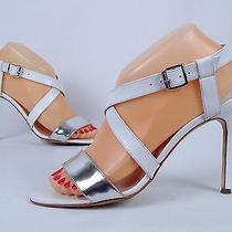 Manolo Blahnik Ankle Strap Sandal- White/ Silver- Size 7.5 Us/ 37.5 Eu 765 (B2) Photo