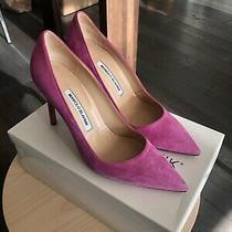 Manolo Blahnik Bb Suede Pink 105mm Pointed Toe Pumps Heels Stiletto Sz 38 Photo