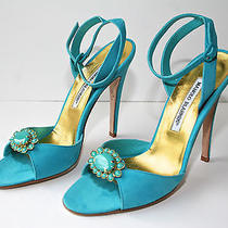 Manolo Blahnik Beautiful Turquoise Suede Sandal W/ Turquoise & Gold Brooch  38 Photo