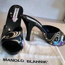 Manolo Blahnik Black Lacquer and Fabric Print Open Toed Heel Size 40 Gorgeous Photo