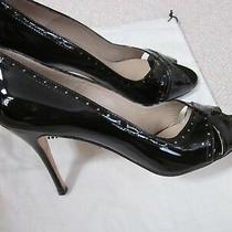 Manolo Blahnik Black Patent Leather Heels Shoes Size 40.5 Photo