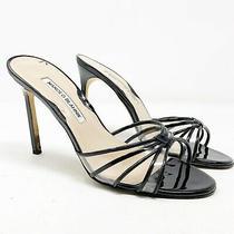 Manolo Blahnik Black Patent Leather & Pvc Strappy Sandals Size 38.5 8.5 Slides Photo