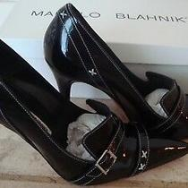 Manolo Blahnik Black Patent Narita Stiletto Pump High Heel Size 37 Photo