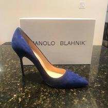 Manolo Blahnik Blue Suede Bb 105 Heels/pumps 39/9 Rts 600 Photo
