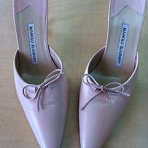 Manolo Blahnik Blush Pink Slides Heels Shoes 38 Photo