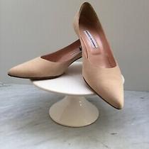 Manolo Blahnik Blush Suede Leather Kitten Pumps-91/2 M-Great Condition-Free Ship Photo