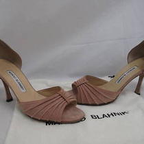 Manolo Blahnik Blush Suede Pleated Strap Open Side Heels 37 Photo