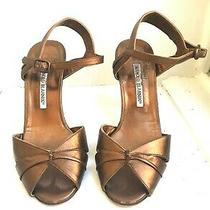 Manolo Blahnik Bronze Peeptoe Sandals Size 36 Photo