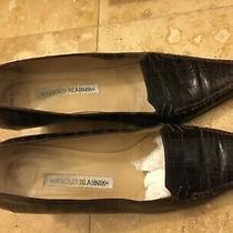 Manolo Blahnik Brown Croc Leather Elegant Classic Business Pump Shoes 37.5 Photo