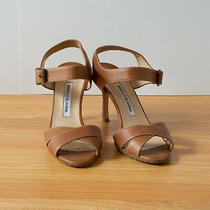 Manolo Blahnik Brown Leather Sandals Size 37 Photo