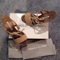 Manolo Blahnik Capri Rope Juta Wedge Size 40 Gently Worn Photo