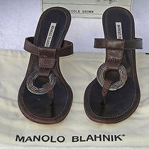 Manolo Blahnik Cgola Brown Wood Ring Sandals 37 1/2 (Size 7 1/2 b) 495 Photo