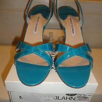 Manolo Blahnik Croc Leather Turquoise Blue Callasli Slingback Sandal Sz 39 1/2 Photo