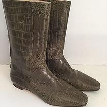 Manolo Blahnik Custom Crocodile Boots Olive 10.5 Photo