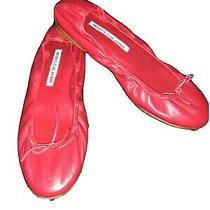 Manolo Blahnik Deep Red Leather Tobaly Ballet Flats Size 6.5/36.5 Photo