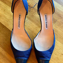 Manolo Blahnik  Dorsay Pumps Navy Fabric Leather Toe/heels Shoes 40.5 Photo