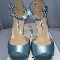 Manolo Blahnik Dribbin Satin Jeweled Blue Evening/wedding Shoe 39.5 9.5 Photo
