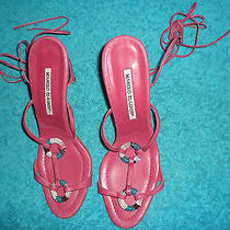 Manolo Blahnik Fucshia Leather Double Multi-Color Ring Strappy Heels Sz 39 Rare Photo