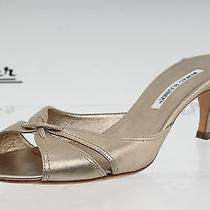 Manolo Blahnik Graphite Leather Slides Sz. 38.5 New  Photo