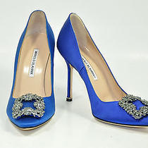 Manolo Blahnik Hangisi  Satin Pumps Sex and the City Wedding Shoes 38 or 8 Us Photo
