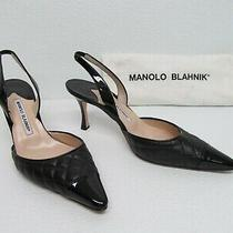 Manolo Blahnik Irie Black Quilted Leather Slingback Heels Size Women's 9/39 Photo