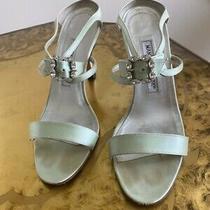Manolo Blahnik Light Green Silk Rhinestone Strappy Sandals Photo
