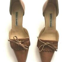 Manolo Blahnik Luggage Color Kitten Heels Tie Front and Closed Toe Size 35 1/2 Photo