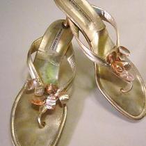 Manolo Blahnik Metallic Gold Mother of Pearl Kitten Heel Sandals  Photo