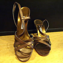 Manolo Blahnik Metallic Strappy Heels Photo