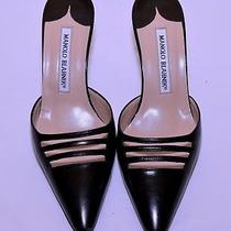 Manolo Blahnik Mule Black Leather Size 5.5. in Great Condition Photo