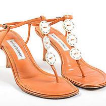 Manolo Blahnik Orange Leather Mother of Pearl Button Ankle Strap Sandals Sz 39.5 Photo