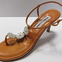 Manolo Blahnik Orange Mother of Pearl Button Thong Heels Size 39 Photo