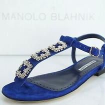 Manolo Blahnik Ottolina Jewel Sandal Size 38 Blue Suede Ankle Strap  Photo