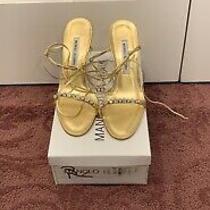Manolo Blahnik Prisca Napa Oro Gold Sandal Heels Photo
