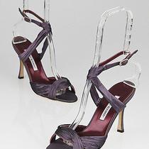 Manolo Blahnik Purple Taffeta Gonga Strappy Sandals Size 8/38.5 Photo