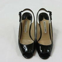 Manolo Blahnik Score Black Patent Leather Slingback Pump Size 36 (Us 6) Photo