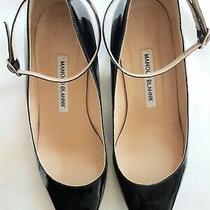 Manolo Blahnik Size 38 Black Patent Leather Mary Jane Pumps Heels Shoes Strap Photo