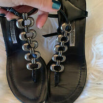 Manolo Blahnik Strappy Metal Chain Black Leather Mule Sandal Heel 36.5 36  Photo