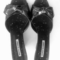 Manolo Blahnik Sz 40.5 Us 10 Wedge Sandals Black Made in Italy Great Deal Photo