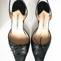 Manolo Blahnik Sz 9 M (39) Black Leather Slingback Pointed Toe Women's Heels Photo