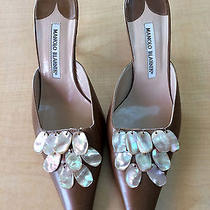 Manolo Blahnik Tan Slides Mother of Pearl Heels Shoes 38 Photo