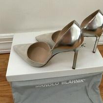 Manolo Blahnik Tayler Bi-Color Suede Leather Dorsay Pumps 6 1/2 Photo