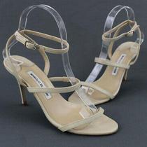 Manolo Blahnik Women's Beige Leather Strappy Sandal Heel Shoe Size 38 8 Photo