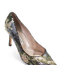 Manolo Blahnik Women's Pointed Toe Sequin Pumps Gray Beige Size 40.5 10.5 Photo