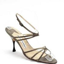 Manolo Blahnik Women's Strappy Sandals Heels Leather Bronze Size 38.5 8.5 Photo