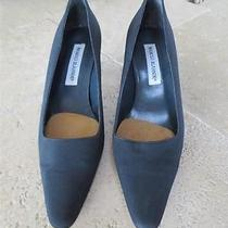 Manolo Blahnik Womens Black Shoes Heels Taffeta 37.5/6.5 Photo
