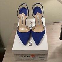 Manolo Blahnik Womens Carolyne Suede Ankle Strap Pumps Black Size 37.5 Photo