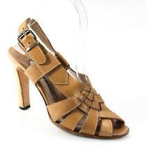 Manolo Blahnik Womens Peep Toe Cross Strap Wooden Block Heel Sandals Tan Size 6 Photo
