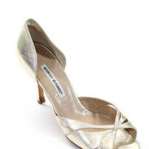 Manolo Blahnik Womens Peep Toe d'orsay Stiletto Pumps Gold Leather Size Euro 40 Photo